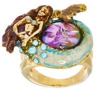 Kirks Folly MARINA MERMAID SEAVIEW WATER MOON RING SIZE 8  violet / goldtone