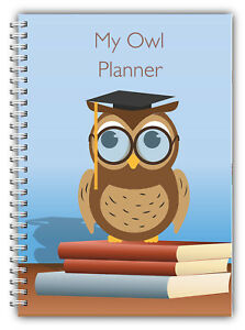 A5 NON PERSONALISED PLANNER DIARY JOURNAL OWL 100 PAGES WIRE BOUND ANY YEAR