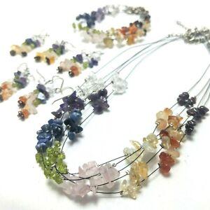 15pcs WHOLESALE Chakra Bracelets Necklaces Earrings Genuine Premium Crystal CK15
