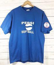 Vintage Pepsi Softball Blue T Shirt With Dixie Softball Inc Patch On Sleeve C1