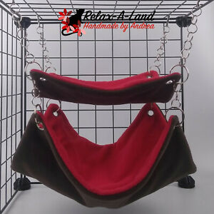 Handmade Adjustable Double Hammock - small pet bed - Toy - Red/Brown
