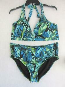 NEW Women's SWIMSUITS FOR ALL Size 24 Green Blue Two Piece PLUS