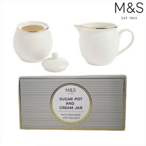 New M&S Isla Sugar Pot with Lid & Creamer Jar White with Gold Detail Boxed