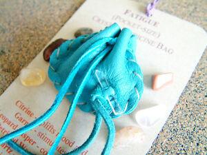 FATIQUE CRYSTAL MEDICINE BAG Pocket Size Deer Leather Pouch w/ Reiki Gemstones