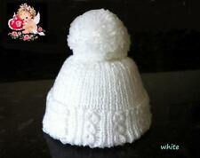 Hand Knitted Newborn Baby - Pom Pom - Bobble Hats - in Soft Baby Wool