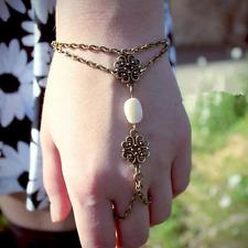 Fashion Retro Lady Bracelet Slave Chain Link Interweave Finger Ring Hand Harness