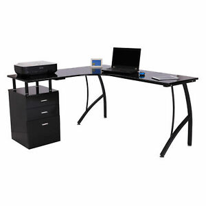 Corner Office Desk Black Classy Workstation Table Storage Drawers File Cabinet