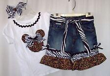 Custom boutique Disney Minnie Mickey Leopard Zebra Safari jeans, shirt all sizes