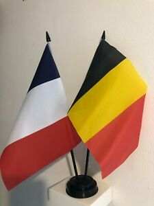 """FRANCE AND BELGIUM TABLE FLAG TWIN SET 9X6"""" 22.5cm x 15cm"""