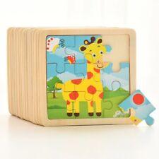 Wooden 3D Puzzle Jigsaw Tangram Intelligence Kids Cartoon Animal Educational Toy
