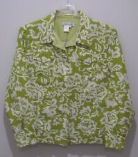 Coldwater Creek Jacket Womens Large Green White Floral Cotton 1779