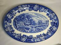 "16"" Large Oval Enoch Woods Blue Transferware English Scenery Serving Platter EUC"