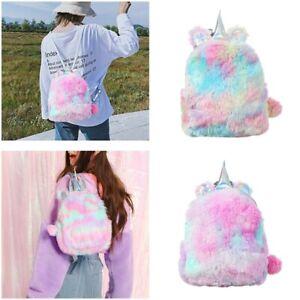 Plush Unicorn Backpack Fluffy Mini Backpack Bags for Girls Travel Schoolbag XMAS