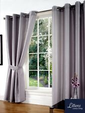 SW Living - Silver Grey Faux Silk Curtains Eyelet Ring Top Fully Lined Inc Tieb