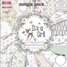 DOVECRAFT IT'S A GIRL! PAPERS 6 X 6 SAMPLE PACK -1 OF EACH DESIGN - 16 SHEETS