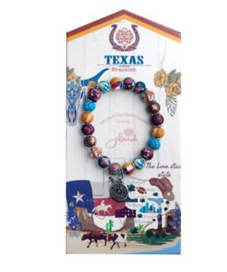 NEW JILZARAH Handmade Clay Bead DESTINATION TEXAS MULTI COLOR DAHLI 8mm Bracelet