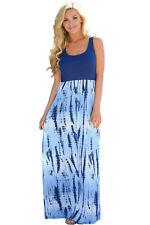 Plus Size Blue Tie Dye Print Long Boho Maxi Dress - Sizes - 10, 12, 14, 16