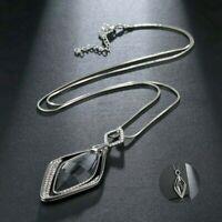 Women Long Crystal Pendant Necklace Gift Fashion Chain Diamond Statement Jewelry