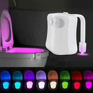 8 Colors Body Sensing Automatic LED Motion Sensor Toilet Bowl Night Light AU
