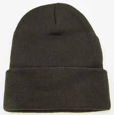 Plain Knit Beanie Skull Cap Long or Cuff Winter Snowboard Ski Hat Adult OSFM New