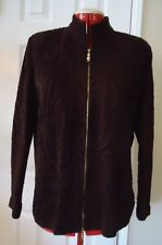 Brown Brocade St John Sport Knit Zipper Jacket Blazer Sweater-Size Large