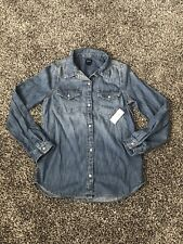 New Gap Girls Denim Shirt Size L With White Buttons