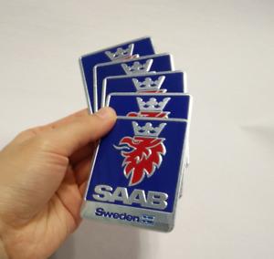 5pcs Aluminum Car Fender Side Rear Trunk Emblems Badges Stickers Decals Fit Saab