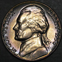 1954-D Jefferson Nickel 5C - Gem Uncirculated - Colorful Toning