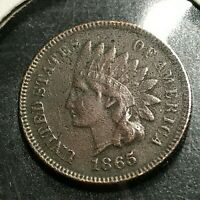 1865 FANCY 5  INDIAN HEAD CENT CIVIL WAR COIN