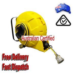 15M RETRACTABLE EXTENSION POWER LEAD CORD REEL AUSTRALIAN CERTIFIED 15 METERS