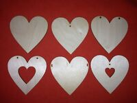 10 x HEARTS 8cm VARIATIONS of BLANK WOODEN SHAPE XMAS WEDDING EMBELLISHMENTS TAG