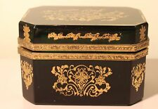 Antique French Emerald Green Bronze Mounted Hinged Jewel Trinket Box