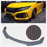 3X Front Bumper Lip Spoiler For 2016 2017 20018 Honda Civic 4Dr Body Kit