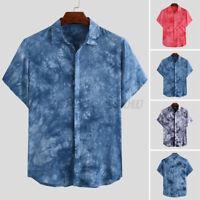Men's Short Sleeve Hawaiian Floral Printed Tie Dye Tee Casual Loose T Shirt Tops