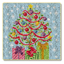 """Latch Hook Kit""""Christmas Tree and Presents"""""""" 65x64cm"""