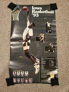 "Vintage 1992-93 Iowa Hawkeyes Acie Earl Chris Street Poster About 20""x35"" RARE"