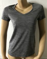 LAYER 8 Womens Size Small Short Sleeve Gray Qwick-Dry Athletic Shirt V Neck