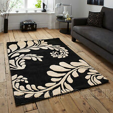 Modern Acrylic Floral Clearance Rugs in 120x170cm Black Ivory Thick Durable Mat