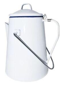 White Enamel Metal Coffee Pot Percolator 2L Campfire Vintage Retro Style