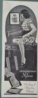 1946 women's Townwear Hosiery stockings nylons legs brunette on table vintage ad