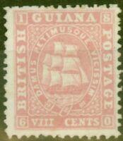 British Guiana 1860 8c Pink SG35 Thick Paper Fine & Fresh Unused Ex-Sir Ron B...