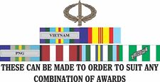 VIETNAM CAMPAIGN  RIBBONS MADE TO ORDER VINYL UV LAMINATED STICKERS