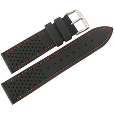 22mm Fluco Germany Black Orange Silicone Rubber Tropic Dive Watch Band Strap Men