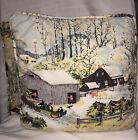 "2 Winter Scene  Vintage Barkcloth Pillows 14"" square"