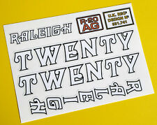Raleigh 'TWENTY' repro vintage Cycle Frame Decals Stickers