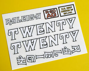 'TWENTY' repro vintage Cycle Frame Decals Stickers to fit Raleigh