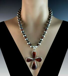 White Fox Creation: Sterling and Spiny Oyster Cross on Chunk Navajo Pearls