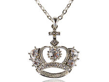 Crystal Clear Queen King Queen Royal Crown Fancy Rhinestone Pendant Necklace