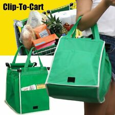 Reusable Foldable Shopping Grocery Fabric Bags Eco Friendly Clip-To-Cart Trolley