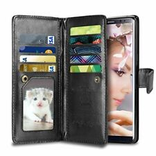 Samsung Galaxy Note 8 Wallet Case Flip Shockproof Card Holder PU Leather Black
